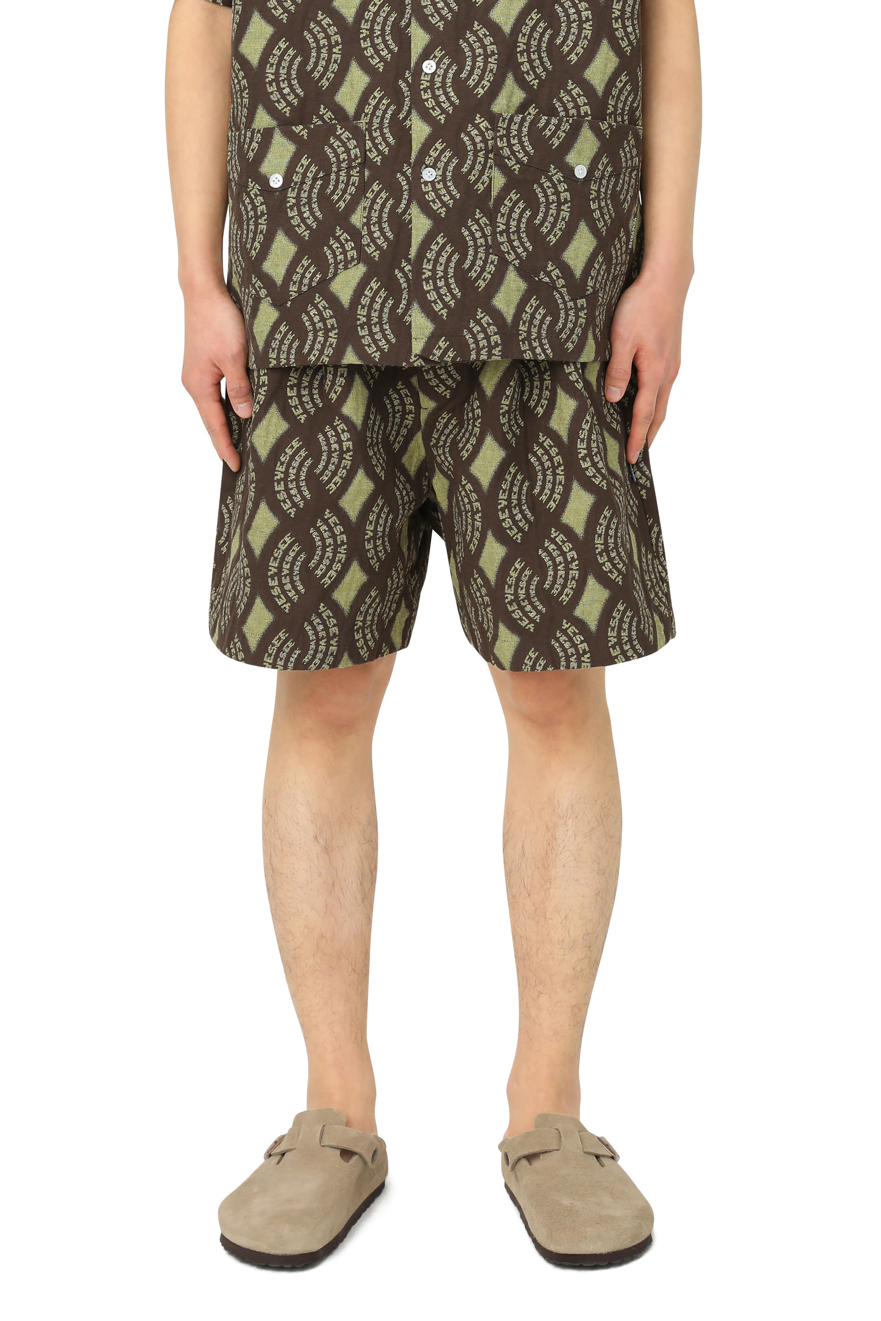 Y.E.S Jacquard Shorts Brown